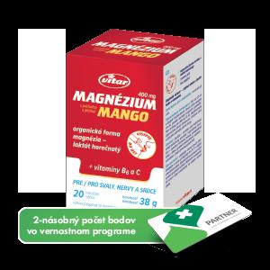 Magnézium 400 mg + vitamíny B6 a C vrecúška s príchutou manga, 20 ks