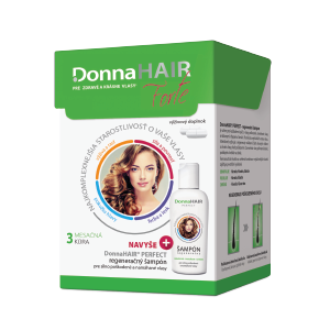 Donna HAIR Forte 3 mesacná kúra, 90 kapsúl + DonnaHAIR PERFECT šampón, 100 ml