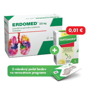 ERDOMED® 225mg* 20 vreciek + TANTUMGRIP* 600 mg/10 mg s citrónovou príchutou, 10 vreciek za 0,01€
