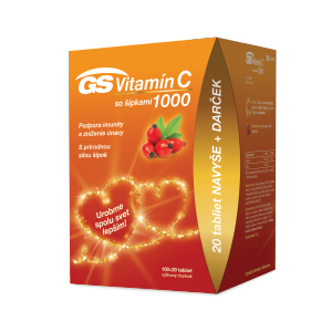 GS Vitamín C 1000 so šípkami 100 + 20 tabliet navyše Darcekové balenie