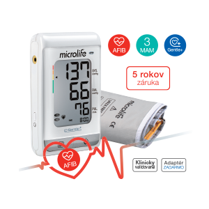 MICROLIFE digitálny tlakomer BP A150 AFIB automatický na rameno pamät na 30 nameraných hodnôt + adaptér