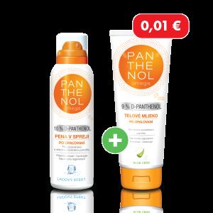 Panthenol Chladivá pena v spreji 10% + Panthenol telové mlieko Aloe Vera 9% za 0,01€