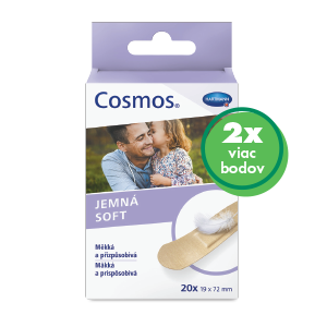 COSMOS Jemná náplasť na rany z netkanej textílie, pre citlivú pokožku (19x72 mm) 20 ks