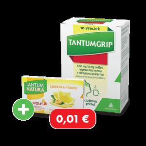 TANTUMGRIP* 600 mg/10 mg prášok s citrónovou príchuťou, 10 vreciek
