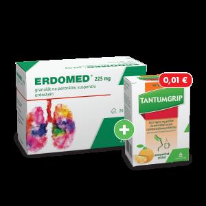 ERDOMED®* 225mg 20 vreciek + TANTUMGRIP* 600 mg/10 mg s pomarančovou príchuťou, 10 vreciek za 0,01€