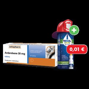Ambrobene* 30 mg, 20tabliet + NASAL DUO ACTIVE* 1,0/50 mg/ml, 10 ml za 0,01€