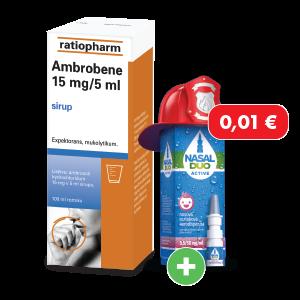 Ambrobene*  15mg/5ml, 100ml + NASAL DUO ACTIVE* 0,5/50 mg/ml, 10 ml za 0,01€