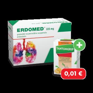 ERDOMED®* 225mg 20 vreciek + TANTUMGRIP* 600 mg/10 mg s pomarančovou príchutou, 10 vreciek za 0,01€