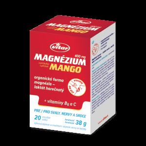 Magnézium 400 mg + vitamíny B6 a C s príchutou manga, 20 vrecúšok