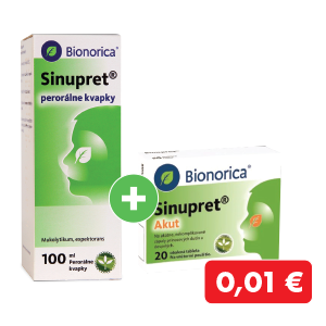 Sinupret kvapky 100 ml + Sinupret Akut 20 ks za 0,01€