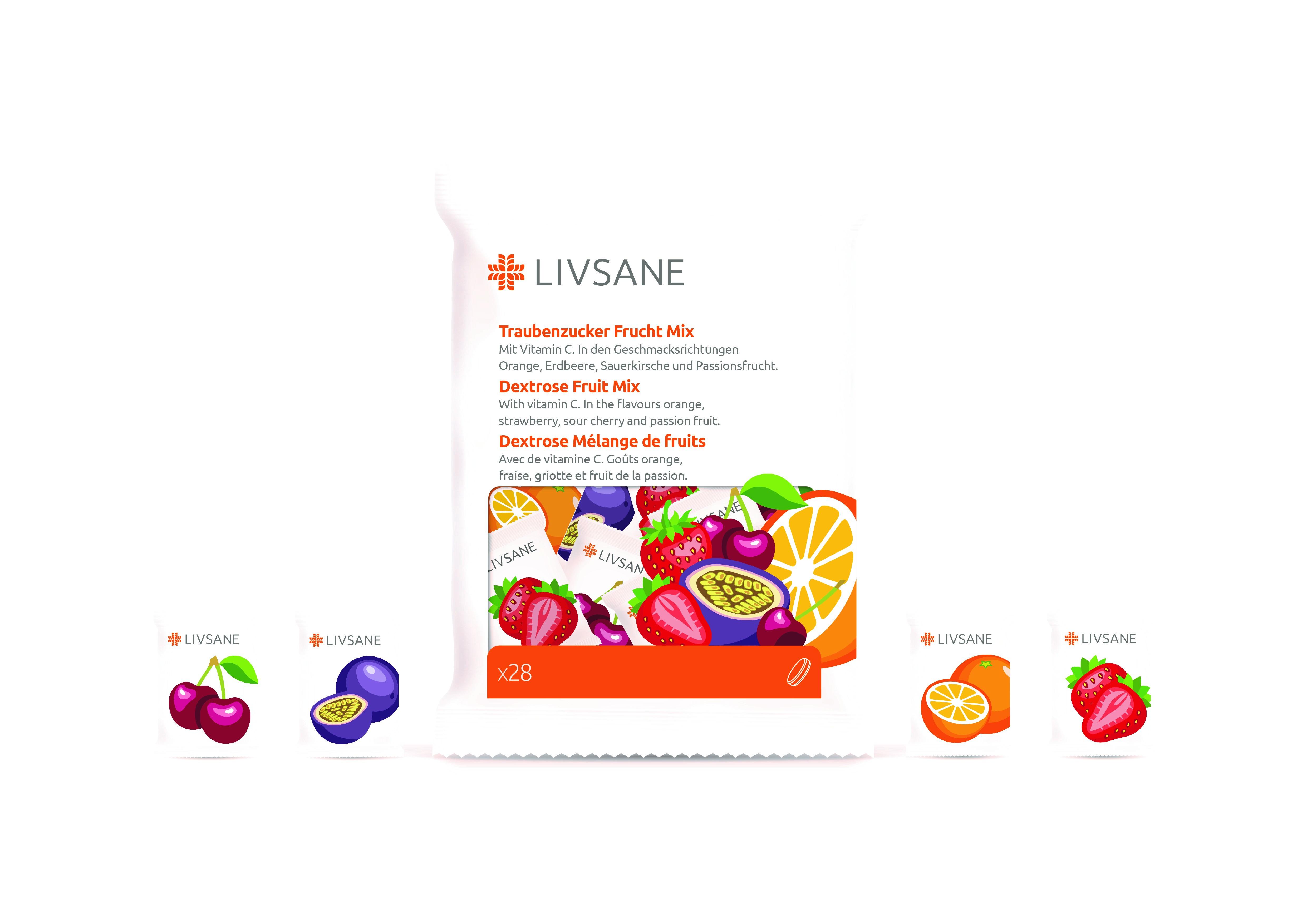 LIVSANE Hroznový cukor s vitamínom C tbl Mix príchutí 1x28 ks