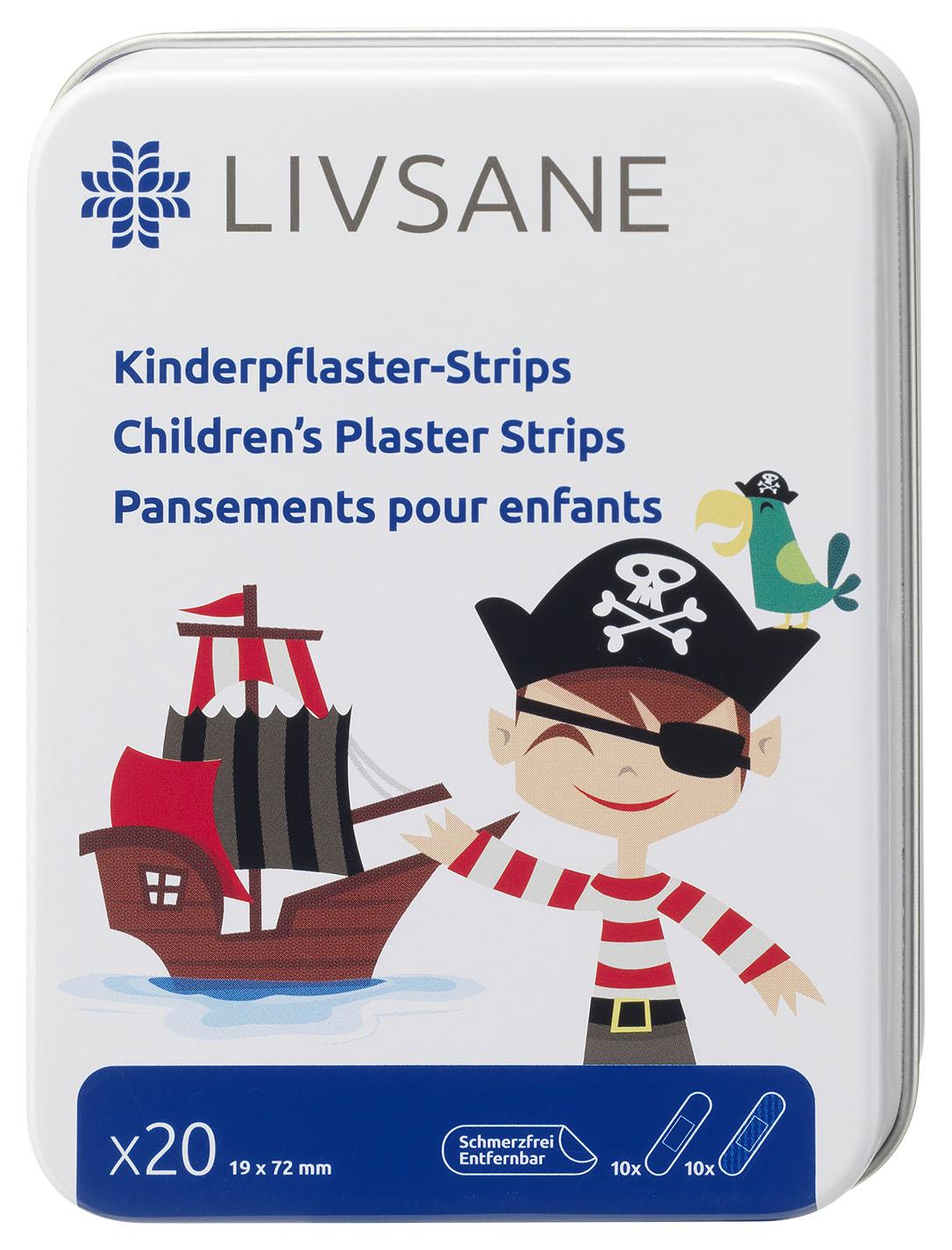 LIVSANE Náplasť detská prúžky Pirát 19x72 mm, 1x20 ks