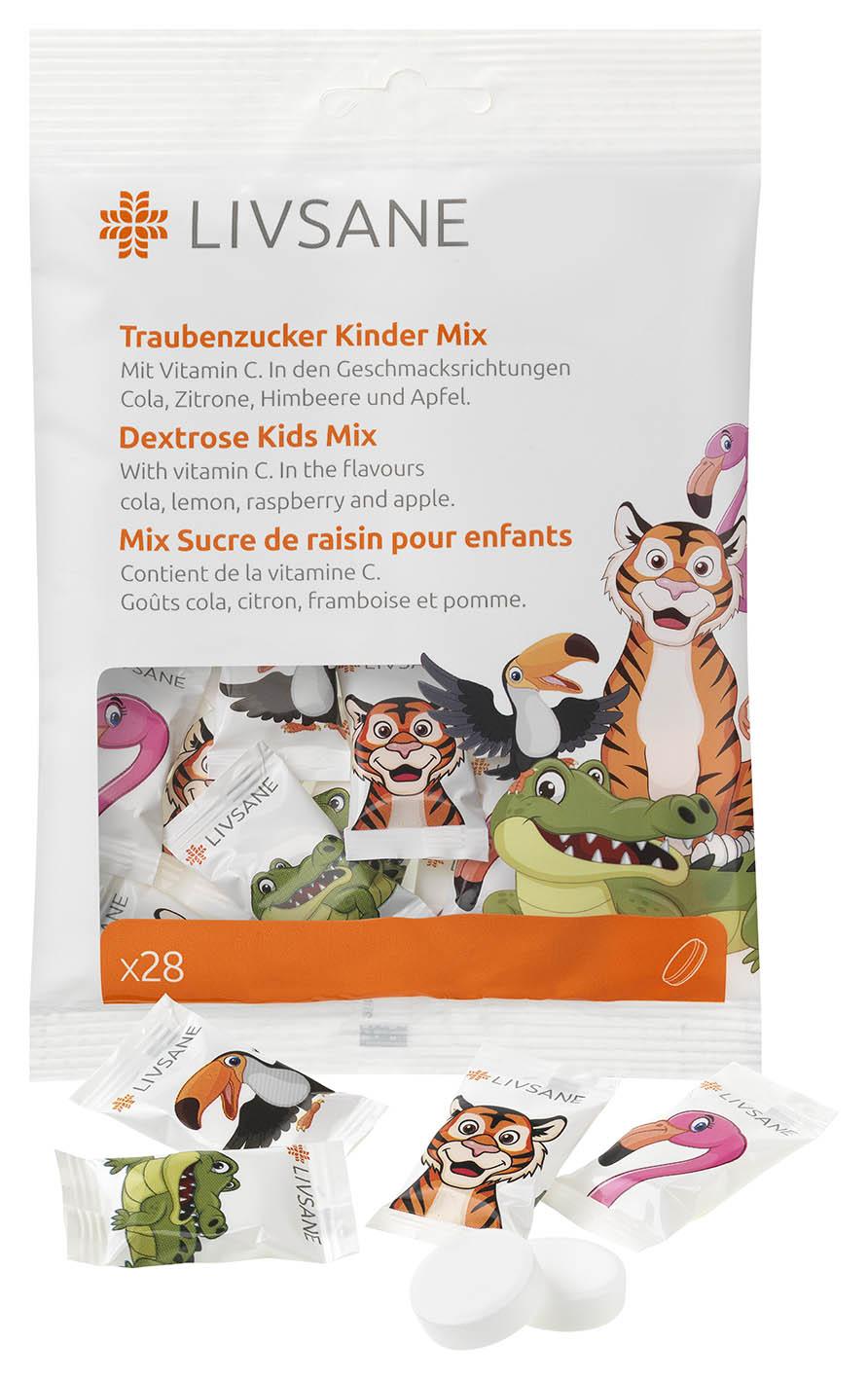 LIVSANE Dextróza pre deti Mix žuvacie tablety s vitamínom C 1x28 ks