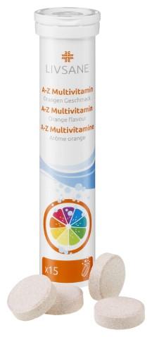 LIVSANE A-Z Multivitamín šumivé tablety, príchuť pomaranč 1x15 ks