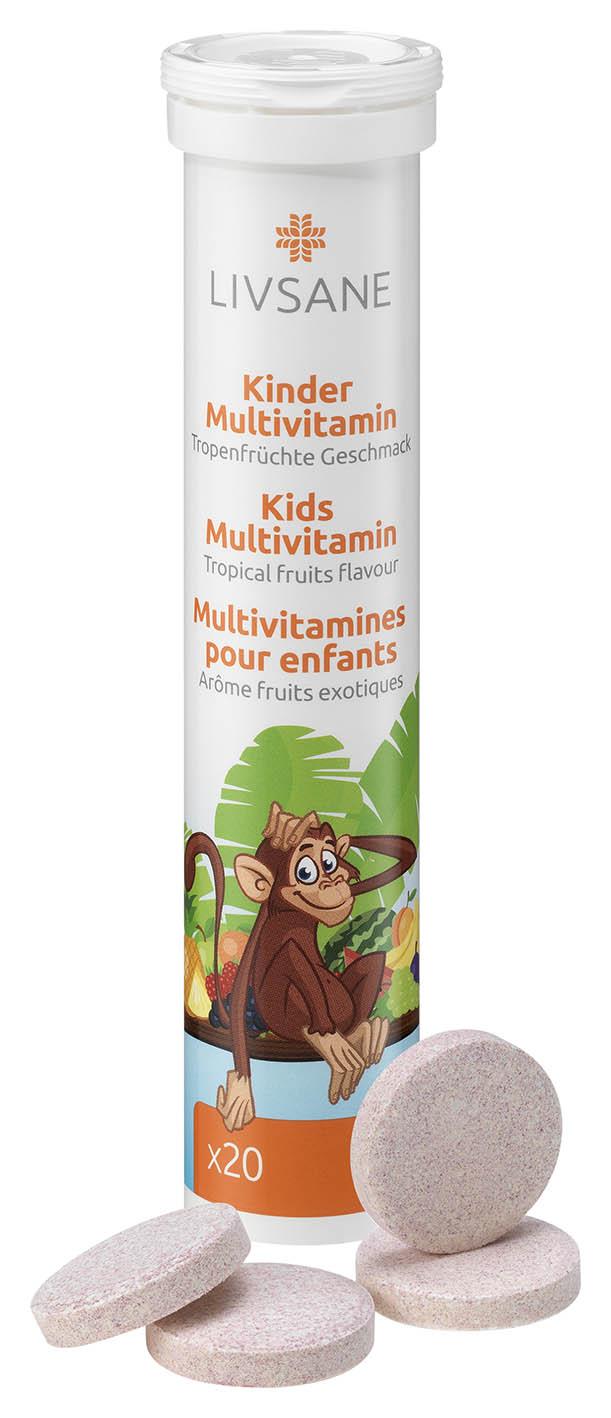 LIVSANE A-Z Multivitamín pre deti šumivé tablety, príchuť exotické ovocie 1x20 ks