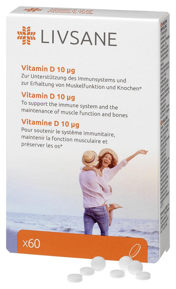 LIVSANE Vitamín D 10 mikrogramov, tbl mini 1x60ks