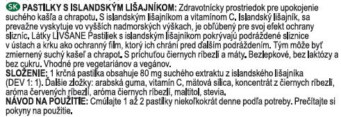 LIVSANE Pastilky s islandským lišajníkom príchuť čierne ríbezle a mäta, s vitamínom C, 1x40 ks